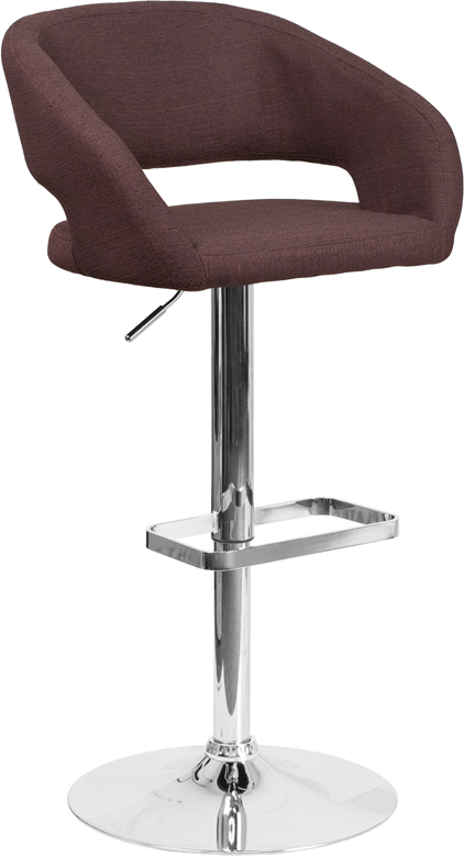 Wholesale Contemporary Brown Fabric Adjustable Height Barstool with Rounded Mid-Back and Chrome Base
