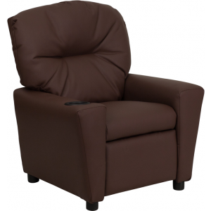Wholesale Contemporary Brown Leather Kids Recliner with Cup Holder