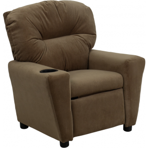 Wholesale Contemporary Brown Microfiber Kids Recliner with Cup Holder