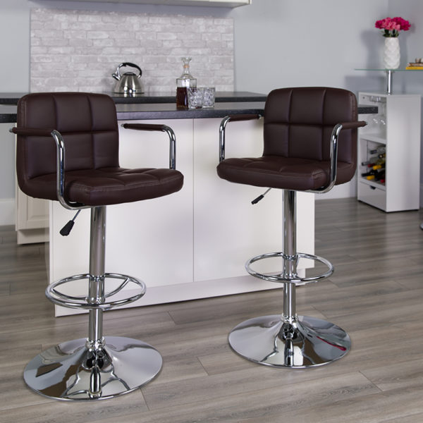 Lowest Price Contemporary Brown Quilted Vinyl Adjustable Height Barstool with Arms and Chrome Base