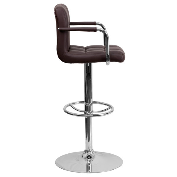 Contemporary Style Stool Brown Quilted Vinyl Barstool
