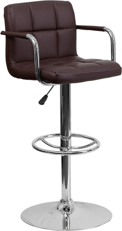 Wholesale Contemporary Brown Quilted Vinyl Adjustable Height Barstool with Arms and Chrome Base