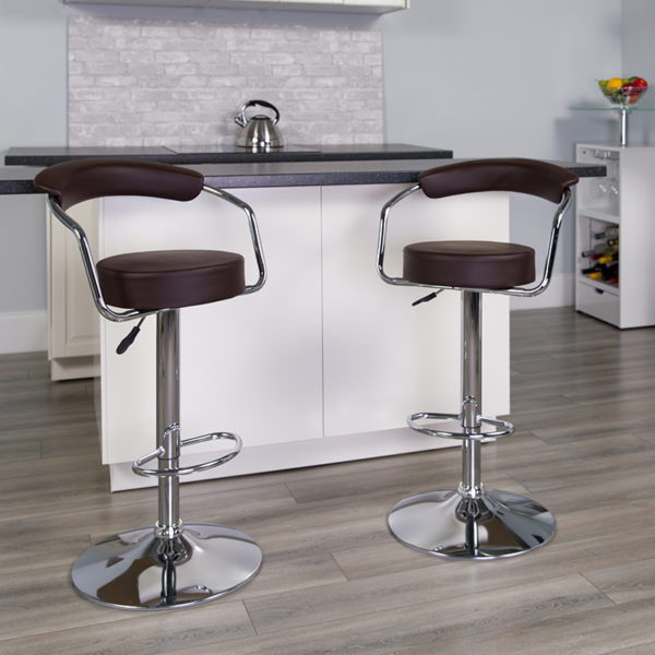 Lowest Price Contemporary Brown Vinyl Adjustable Height Barstool with Arms and Chrome Base