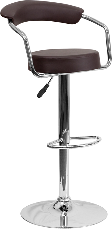 Wholesale Contemporary Brown Vinyl Adjustable Height Barstool with Arms and Chrome Base