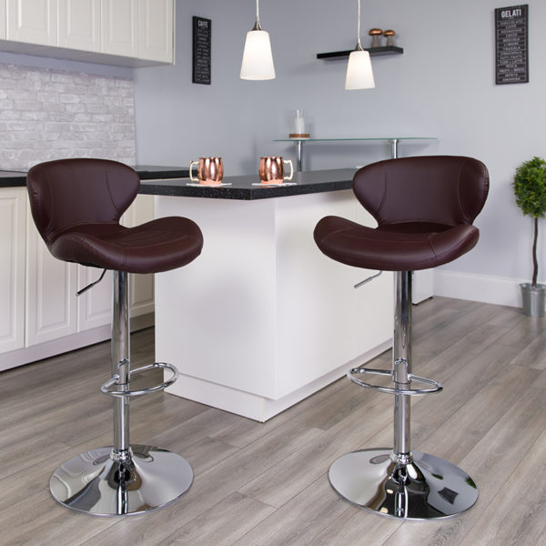 Lowest Price Contemporary Brown Vinyl Adjustable Height Barstool with Curved Back and Chrome Base