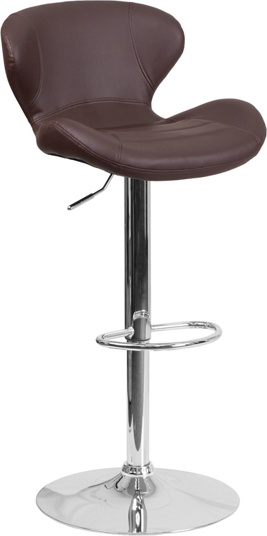 Wholesale Contemporary Brown Vinyl Adjustable Height Barstool with Curved Back and Chrome Base