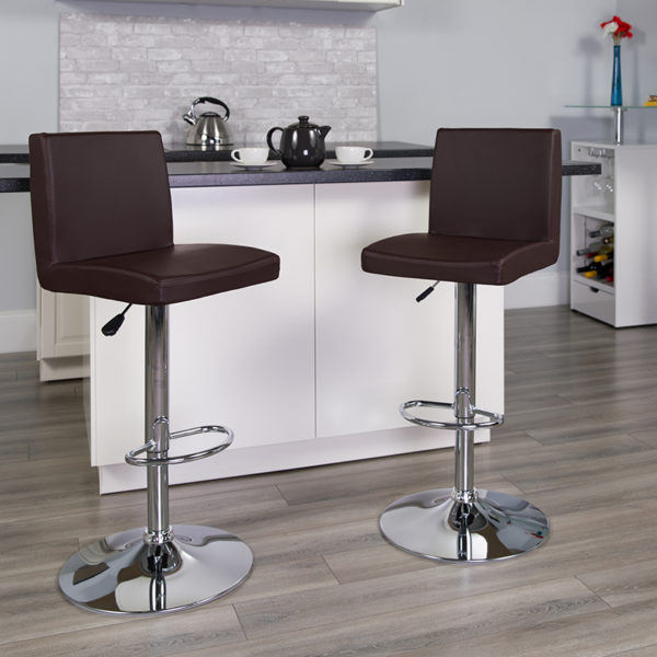 Lowest Price Contemporary Brown Vinyl Adjustable Height Barstool with Panel Back and Chrome Base