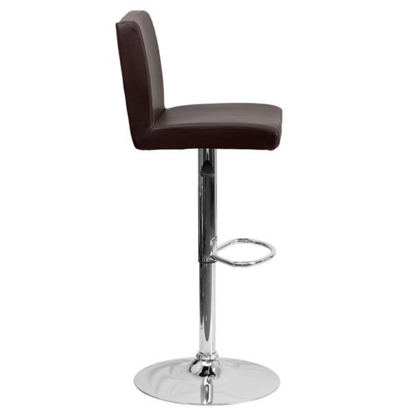 Contemporary Style Stool Brown Vinyl Barstool