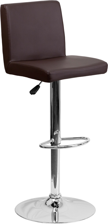 Wholesale Contemporary Brown Vinyl Adjustable Height Barstool with Panel Back and Chrome Base
