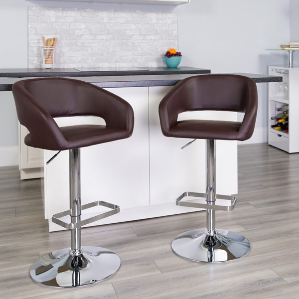 Lowest Price Contemporary Brown Vinyl Adjustable Height Barstool with Rounded Mid-Back and Chrome Base