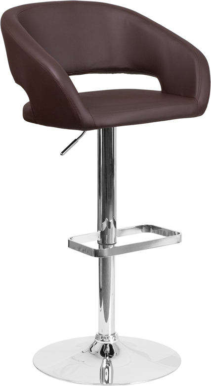 Wholesale Contemporary Brown Vinyl Adjustable Height Barstool with Rounded Mid-Back and Chrome Base