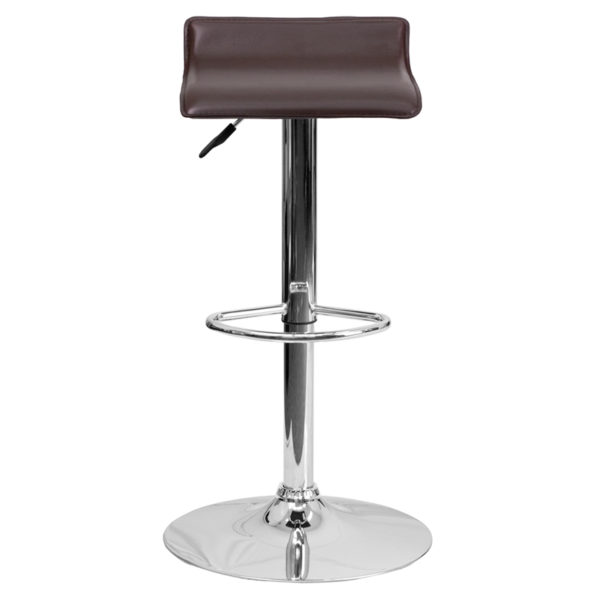 Superb Contemporary Brown Vinyl Adjustable Height Barstool With Solid Wave Seat And Chrome Base Pdpeps Interior Chair Design Pdpepsorg