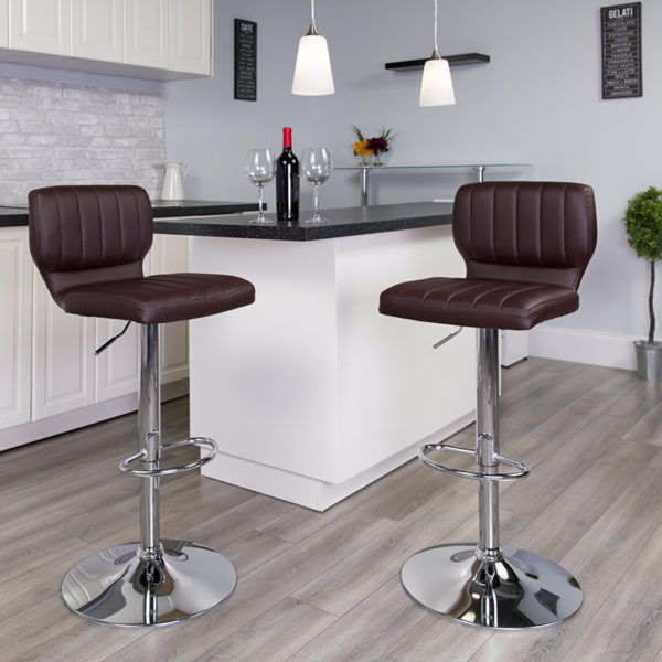 Lowest Price Contemporary Brown Vinyl Adjustable Height Barstool with Vertical Stitch Back and Chrome Base