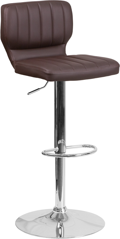 Wholesale Contemporary Brown Vinyl Adjustable Height Barstool with Vertical Stitch Back and Chrome Base