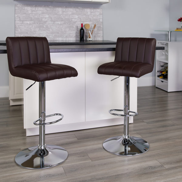Lowest Price Contemporary Brown Vinyl Adjustable Height Barstool with Vertical Stitch Back/Seat and Chrome Base