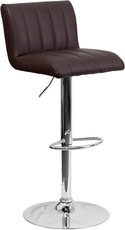 Wholesale Contemporary Brown Vinyl Adjustable Height Barstool with Vertical Stitch Back/Seat and Chrome Base