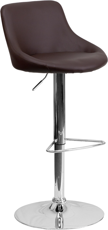 Wholesale Contemporary Brown Vinyl Bucket Seat Adjustable Height Barstool with Chrome Base