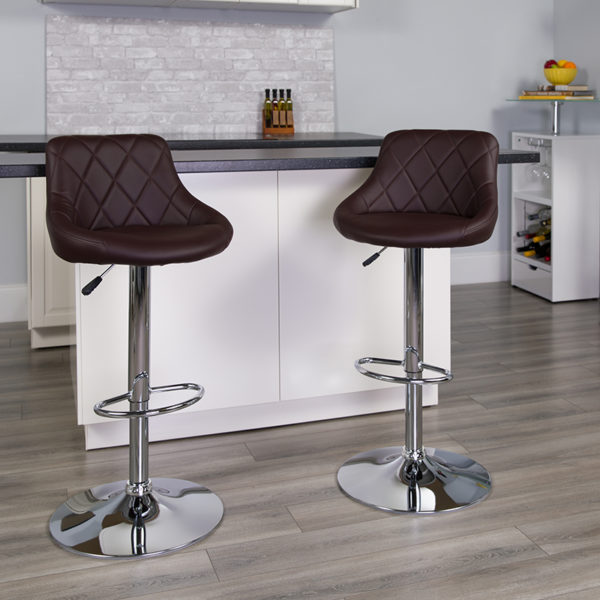 Lowest Price Contemporary Brown Vinyl Bucket Seat Adjustable Height Barstool with Diamond Pattern Back and Chrome Base