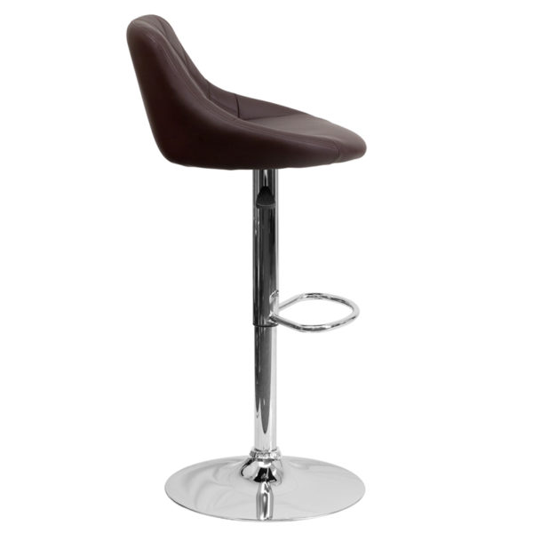 Contemporary Style Stool Brown Vinyl Barstool