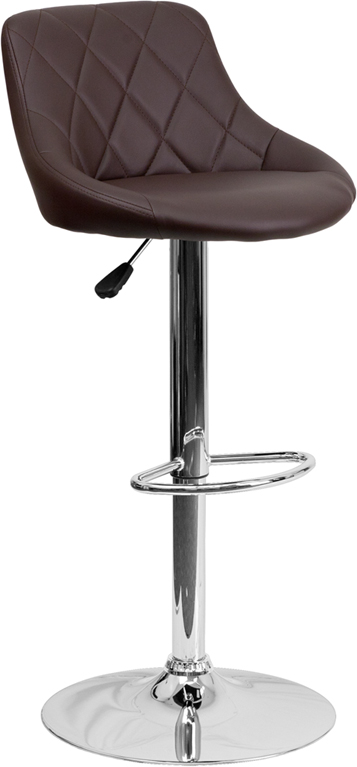 Wholesale Contemporary Brown Vinyl Bucket Seat Adjustable Height Barstool with Diamond Pattern Back and Chrome Base