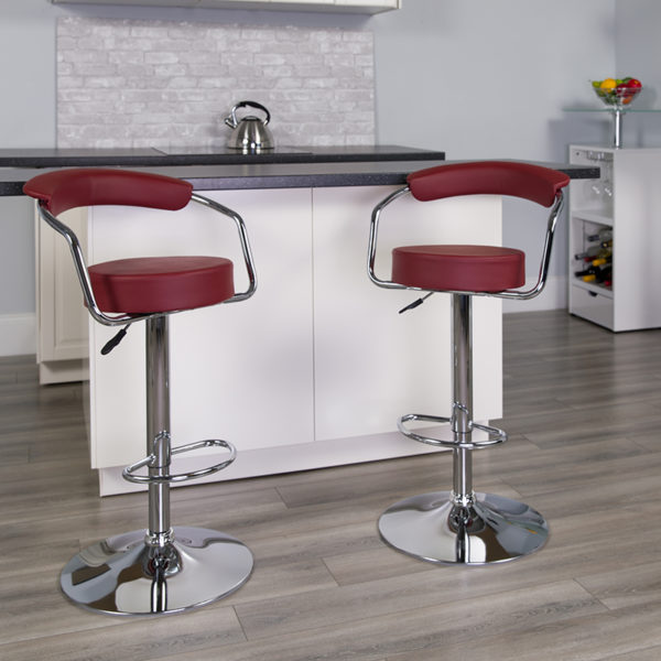 Lowest Price Contemporary Burgundy Vinyl Adjustable Height Barstool with Arms and Chrome Base