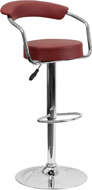 Wholesale Contemporary Burgundy Vinyl Adjustable Height Barstool with Arms and Chrome Base