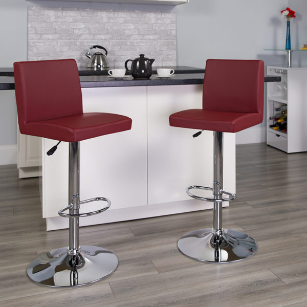 Lowest Price Contemporary Burgundy Vinyl Adjustable Height Barstool with Panel Back and Chrome Base