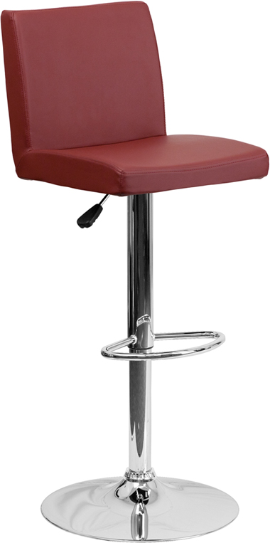 Wholesale Contemporary Burgundy Vinyl Adjustable Height Barstool with Panel Back and Chrome Base