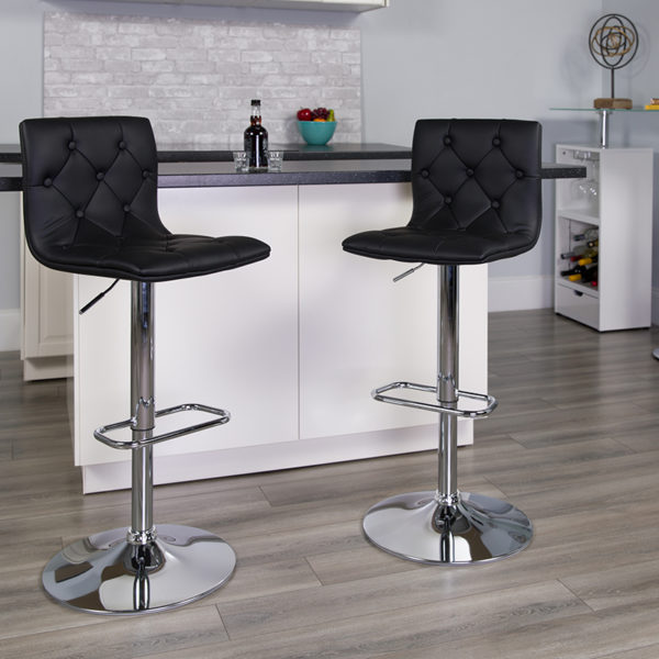 Lowest Price Contemporary Button Tufted Black Vinyl Adjustable Height Barstool with Chrome Base