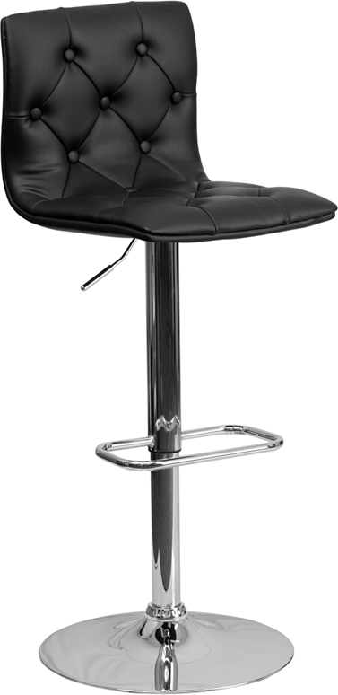 Wholesale Contemporary Button Tufted Black Vinyl Adjustable Height Barstool with Chrome Base