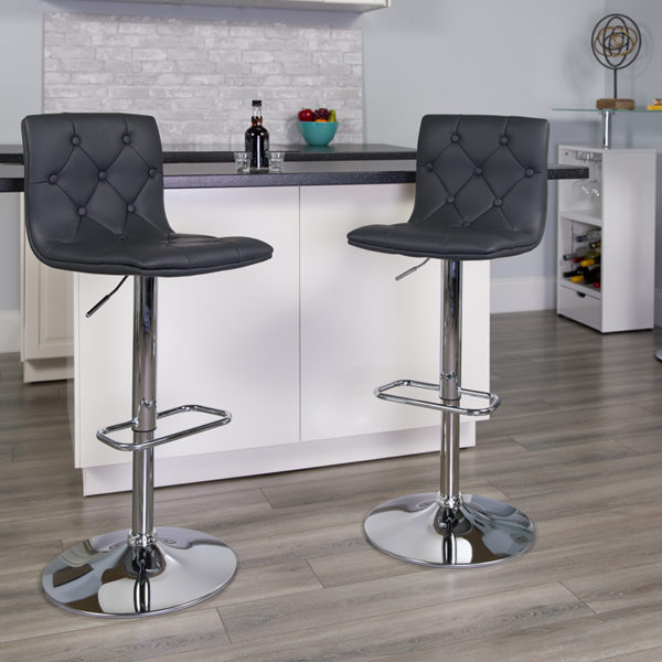 Lowest Price Contemporary Button Tufted Gray Vinyl Adjustable Height Barstool with Chrome Base