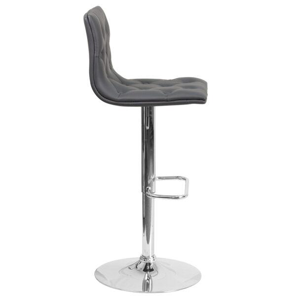 Contemporary Style Stool Tufted Gray Vinyl Barstool