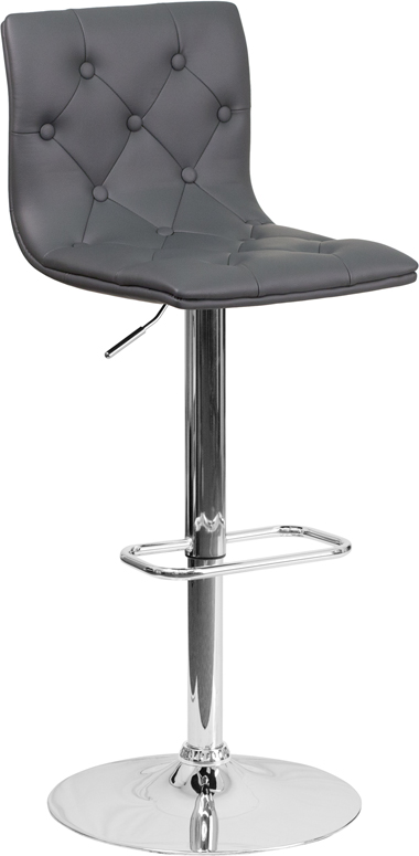 Wholesale Contemporary Button Tufted Gray Vinyl Adjustable Height Barstool with Chrome Base