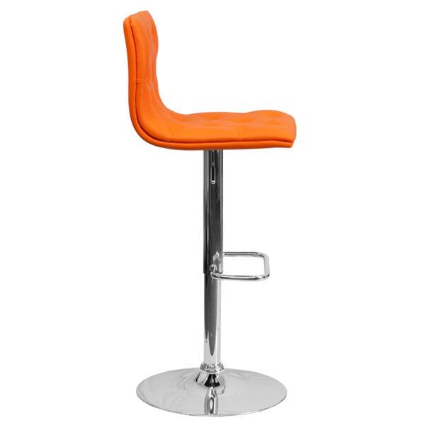 Contemporary Style Stool Tufted Orange Vinyl Barstool