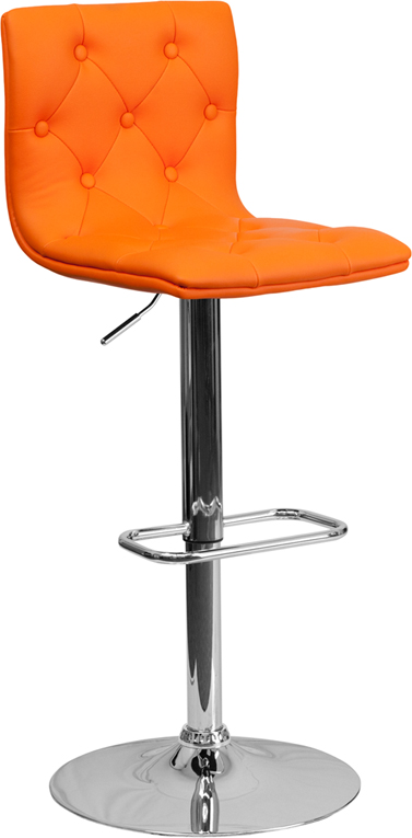 Wholesale Contemporary Button Tufted Orange Vinyl Adjustable Height Barstool with Chrome Base