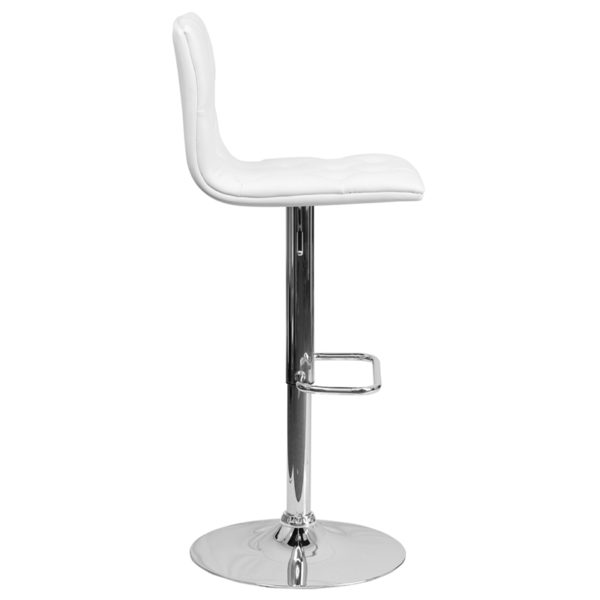 Lowest Price Contemporary Button Tufted White Vinyl Adjustable Height Barstool with Chrome Base