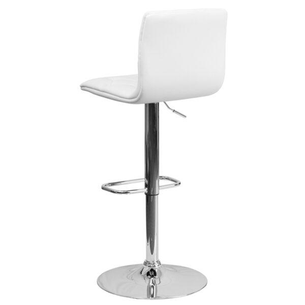 Contemporary Style Stool Tufted White Vinyl Barstool