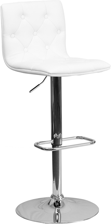 Wholesale Contemporary Button Tufted White Vinyl Adjustable Height Barstool with Chrome Base