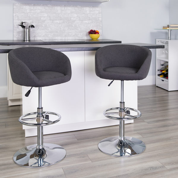 Lowest Price Contemporary Charcoal Fabric Adjustable Height Barstool with Barrel Back and Chrome Base