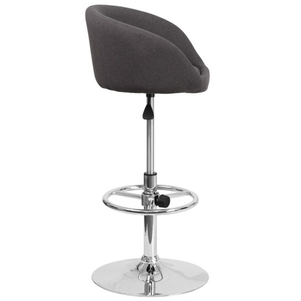 Contemporary Style Stool Charcoal Fabric Barstool