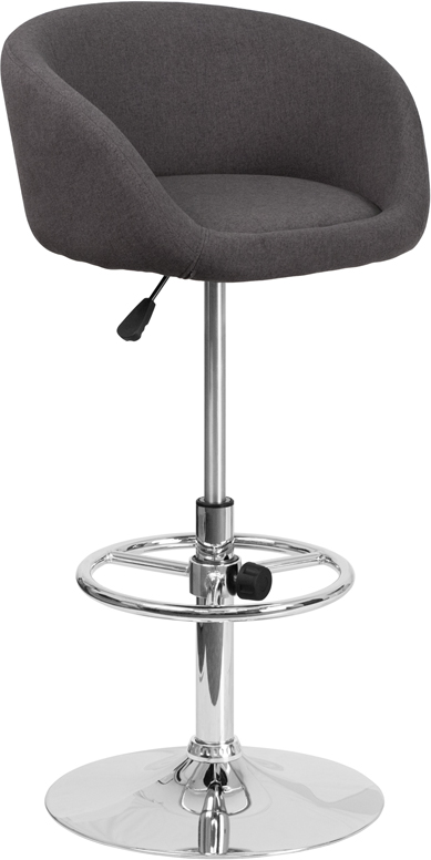 Wholesale Contemporary Charcoal Fabric Adjustable Height Barstool with Barrel Back and Chrome Base
