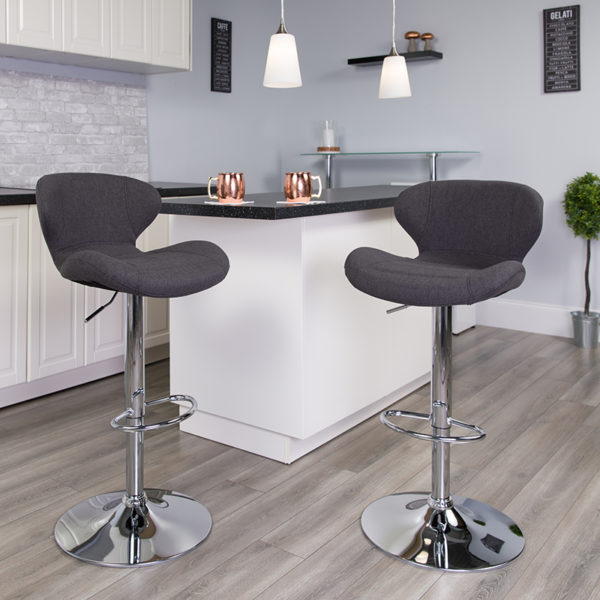 Lowest Price Contemporary Charcoal Fabric Adjustable Height Barstool with Curved Back and Chrome Base
