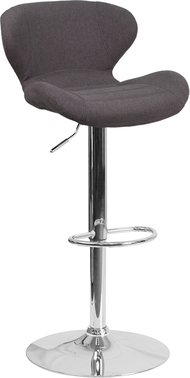 Wholesale Contemporary Charcoal Fabric Adjustable Height Barstool with Curved Back and Chrome Base