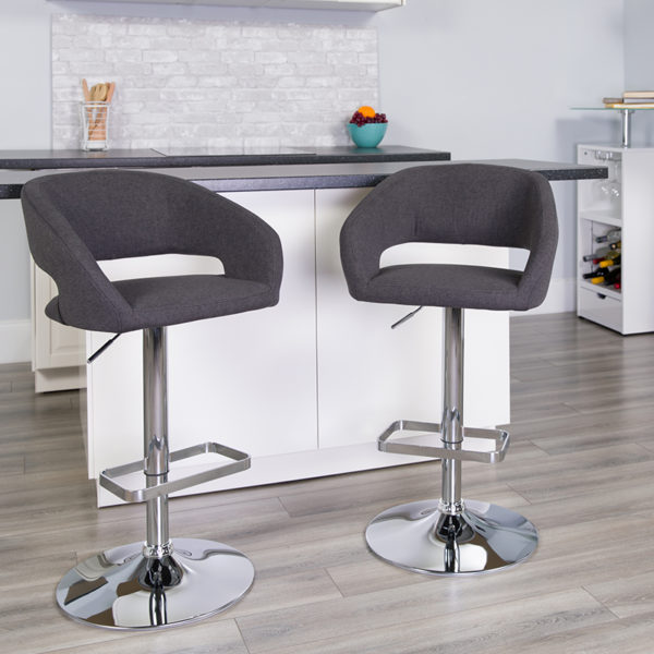 Lowest Price Contemporary Charcoal Fabric Adjustable Height Barstool with Rounded Mid-Back and Chrome Base
