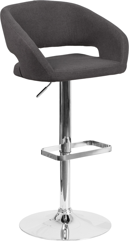 Wholesale Contemporary Charcoal Fabric Adjustable Height Barstool with Rounded Mid-Back and Chrome Base