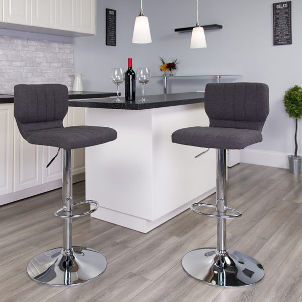 Lowest Price Contemporary Charcoal Fabric Adjustable Height Barstool with Vertical Stitch Back and Chrome Base