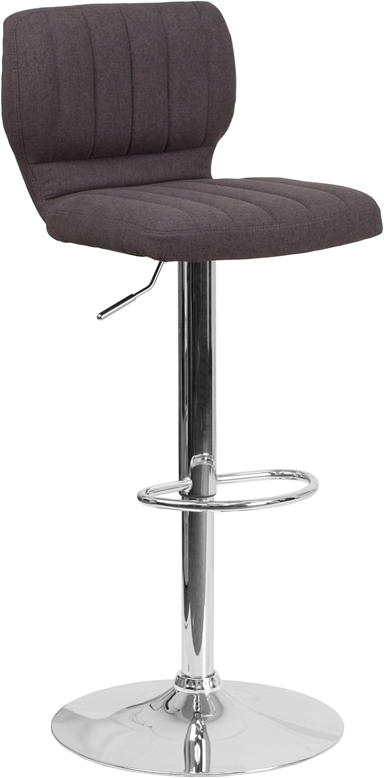 Wholesale Contemporary Charcoal Fabric Adjustable Height Barstool with Vertical Stitch Back and Chrome Base
