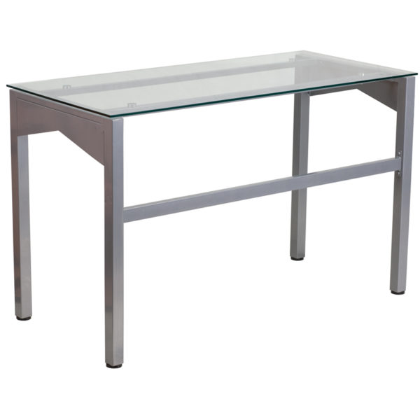 Lowest Price Contemporary Clear Tempered Glass Desk with Geometric Sides