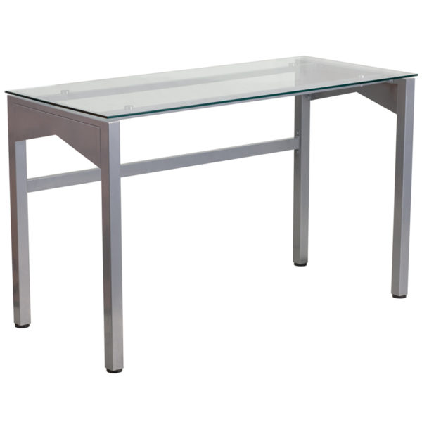 Wholesale Contemporary Clear Tempered Glass Desk with Geometric Sides