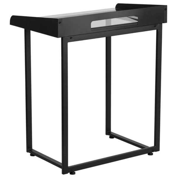Lowest Price Contemporary Clear Tempered Glass Desk with Raised Cable Management Border and Black Metal Frame